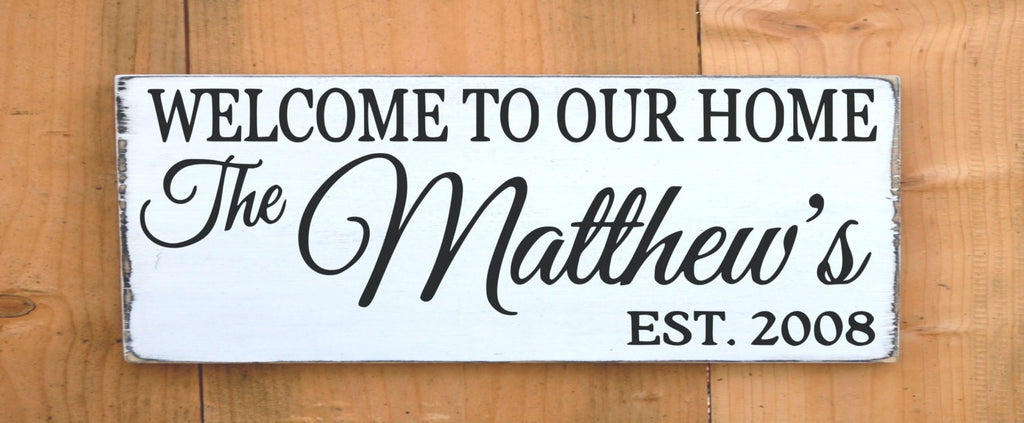 Personalized Family Name Sign Outdoor House Welcome Signs Rustic Painted Last Name Wooden Plaque Home Custom Made Entry Christmas Gift Porch - The Sign Shoppe