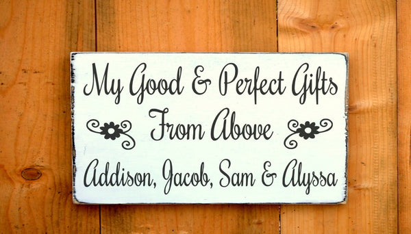 Personalized Grandparents Sign Parents Gift Mom Dad Wood Signs Grandchildren Kids Names Scripture Verse Wall Good Perfect Gifts From Above - The Sign Shoppe - 2