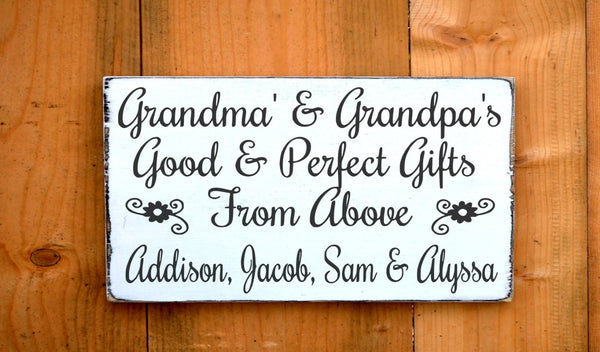 Personalized Grandparents Sign Parents Gift Mom Dad Wood Signs Grandchildren Kids Names Scripture Verse Wall Good Perfect Gifts From Above - The Sign Shoppe - 1