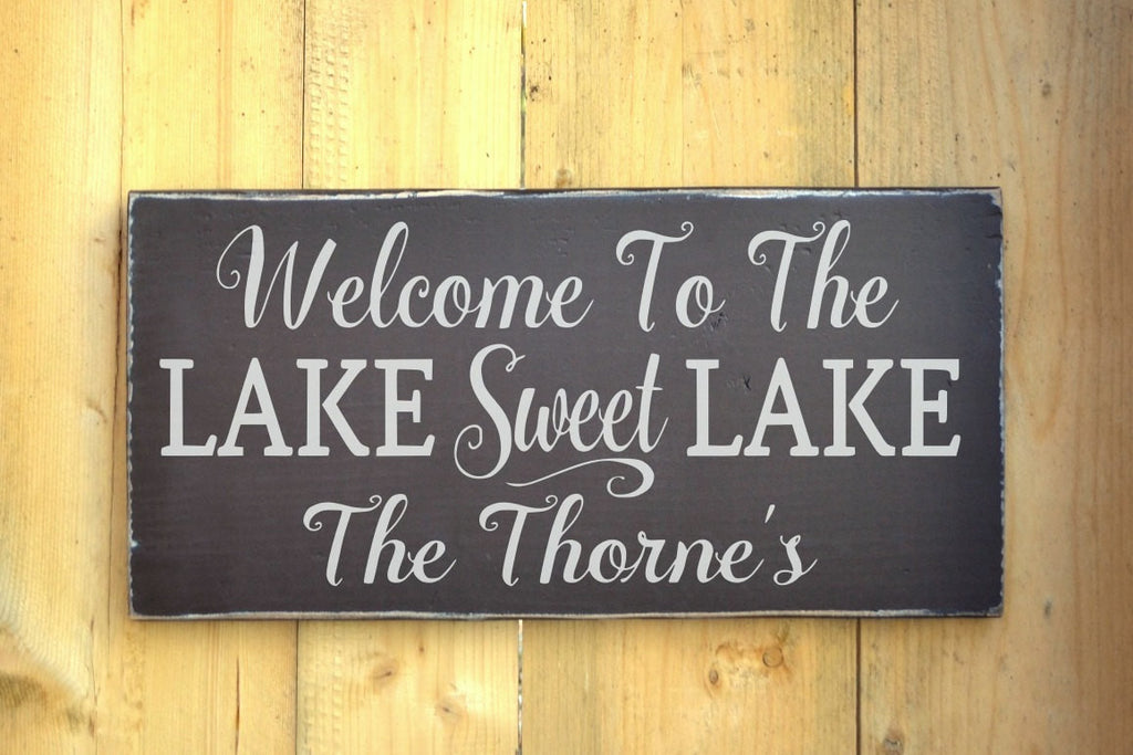 Personalized Lake House Family Name Sign Welcome To The Lake Sweet Lake Life Gifts Home Wood Plaque Lakeside Cottage Cabin Family Last Names - The Sign Shoppe
