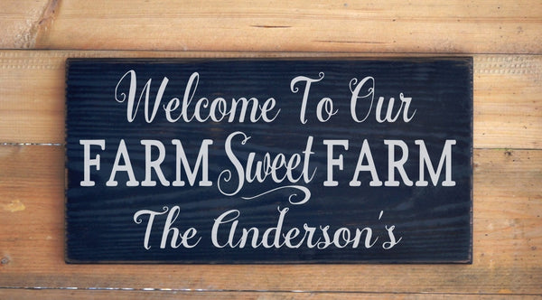 Personalized Farm House Family Name Welcome Signs Farm House Ranch Decor Custom Wood Plaque