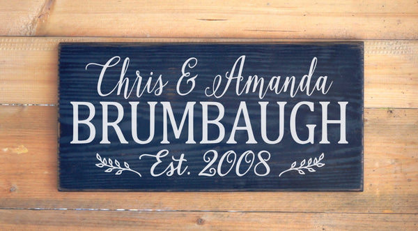 Personalized Family Name Sign Wedding Gift Couple Anniversary Gift Housewarming Rustic Wooden Signs Decor Custom Home House Plaque