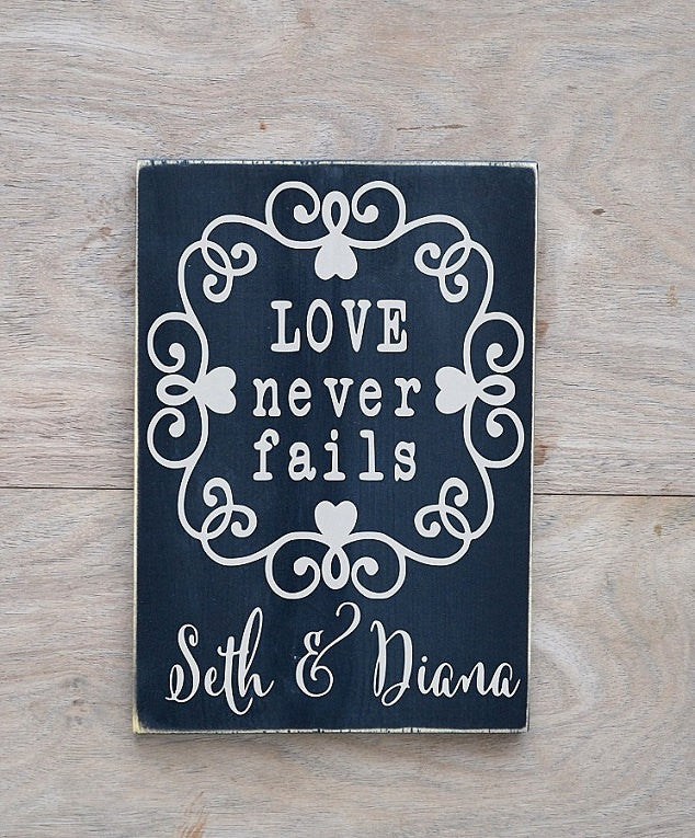 Wedding Signs Personalized LARGE Name Gift Couple Anniversary Wooden Ceremony Reception Plaque Decor Cake Gift Table Love Never Fails Quote - The Sign Shoppe