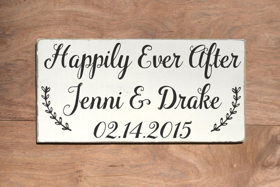 Rustic Wedding Signs Personalized Gifts Ideas Happily Ever After Quotes Anniversary Custom Welcome Wood Signs Outdoor Engagement Shower - The Sign Shoppe
