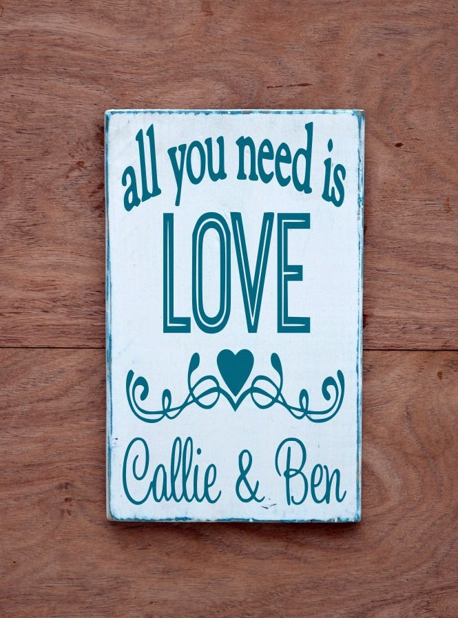 Wedding Sign Turquoise PAINTED All You Need Is Love Personalized Beach Weddings Gift Engaged Present Rustic Wood Reception Decorations Quote - The Sign Shoppe
