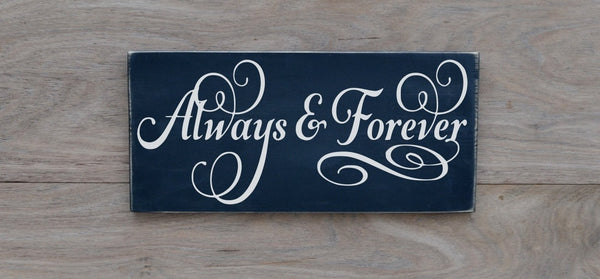 Wedding Sign Decor Gift Ideas Always & Forever Reception Decorations Orange Peach Coral Rustic Anniversary Wood Plaque Ceremony Love Quotes - The Sign Shoppe - 2