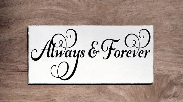 Wedding Sign Decor Gift Ideas Always & Forever Reception Decorations Orange Peach Coral Rustic Anniversary Wood Plaque Ceremony Love Quotes - The Sign Shoppe - 3