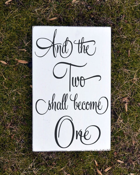 Pink Wedding Sign The Two Shall Become One Gifts Ephesians Bible Verse Scripture Wall Art Wood Signs Engagement Gift Unique Rehearsal Party - The Sign Shoppe - 2