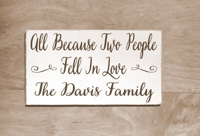 Personalized Familly Name Sign Anniversary Birthday Gift Custom House Signs On Wood Quotes All Because Two People Fell In Love Husband Wife - The Sign Shoppe - 1