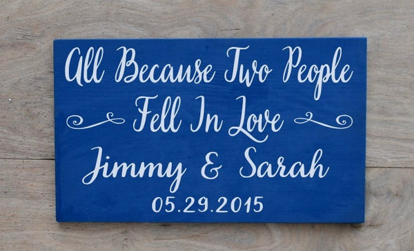 Personalized Familly Name Sign Anniversary Birthday Gift Custom House Signs On Wood Quotes All Because Two People Fell In Love Husband Wife - The Sign Shoppe - 2