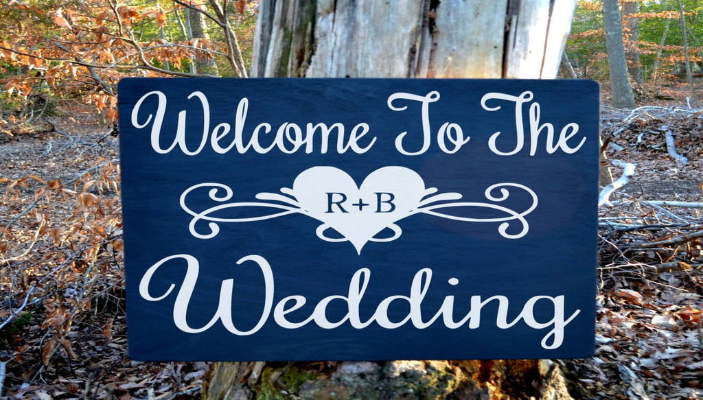 Large Welcome Wedding Sign Personalized Initials Plaques For Entrance - The Sign Shoppe