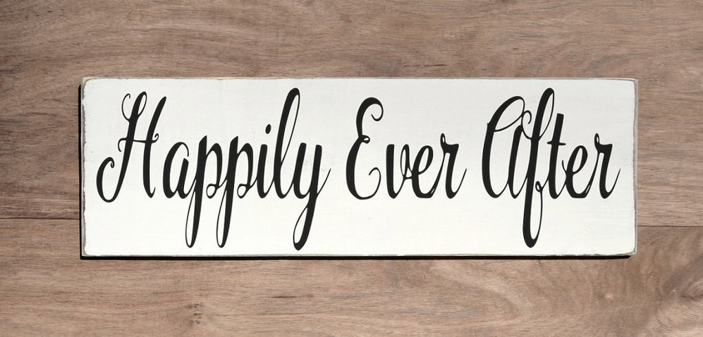 Wedding Sign Happily Ever After Custom Wood Signs Outdoor Rustic Decorations Centerpiece Ideas Eloped Photos Destination Weddings Wall Art - The Sign Shoppe
