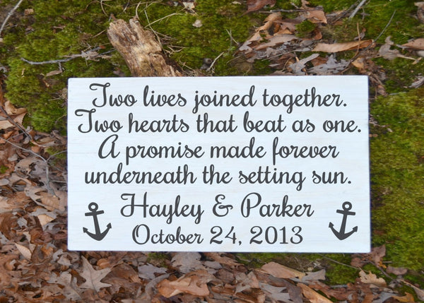 Beach Wedding Sign Personalized Gift Unique Sunset Water Lake Nautical Anchor Weddings Decor Original Sand Ceremony Reception Decorations - The Sign Shoppe - 1