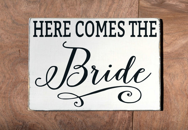 Wedding Decor Ceremony Sign Here Comes The Your Bride Wood Ring Bearer Carrying Holding Signs Flower Girl Plaque Unique Rustic Calligraphy - The Sign Shoppe - 2