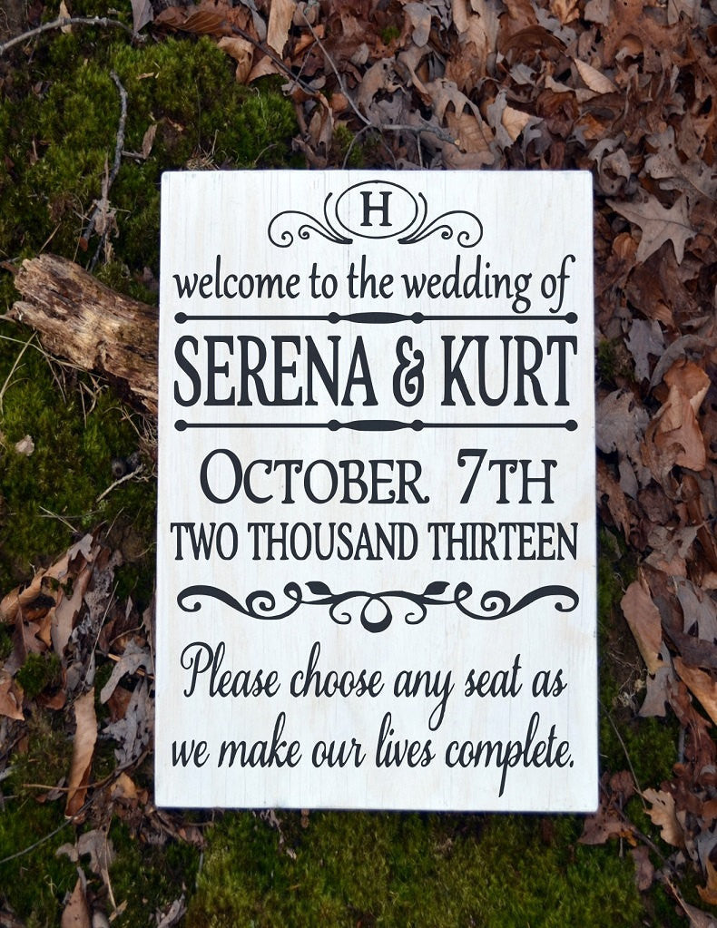 Wedding Signs Personalized LARGE Pick A Seat Rustic Wood Welcome Aisle Ceremony Entry Signage Direction Outdoor Yard Decor Monogram - The Sign Shoppe - 1