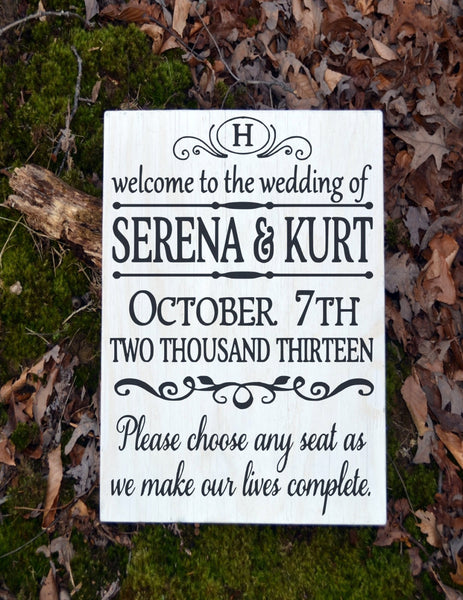 Wedding Signs Personalized LARGE Pick A Seat Rustic Wood Welcome Aisle Ceremony Entry Signage Direction Outdoor Yard Decor Monogram - The Sign Shoppe - 2