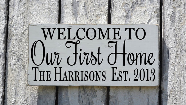 Personalized Our First Home Sign, Rustic Family Name Established Welcome Wood Plaque, Wedding Gift, Couples New House Art Porch Wall Decor - The Sign Shoppe - 2