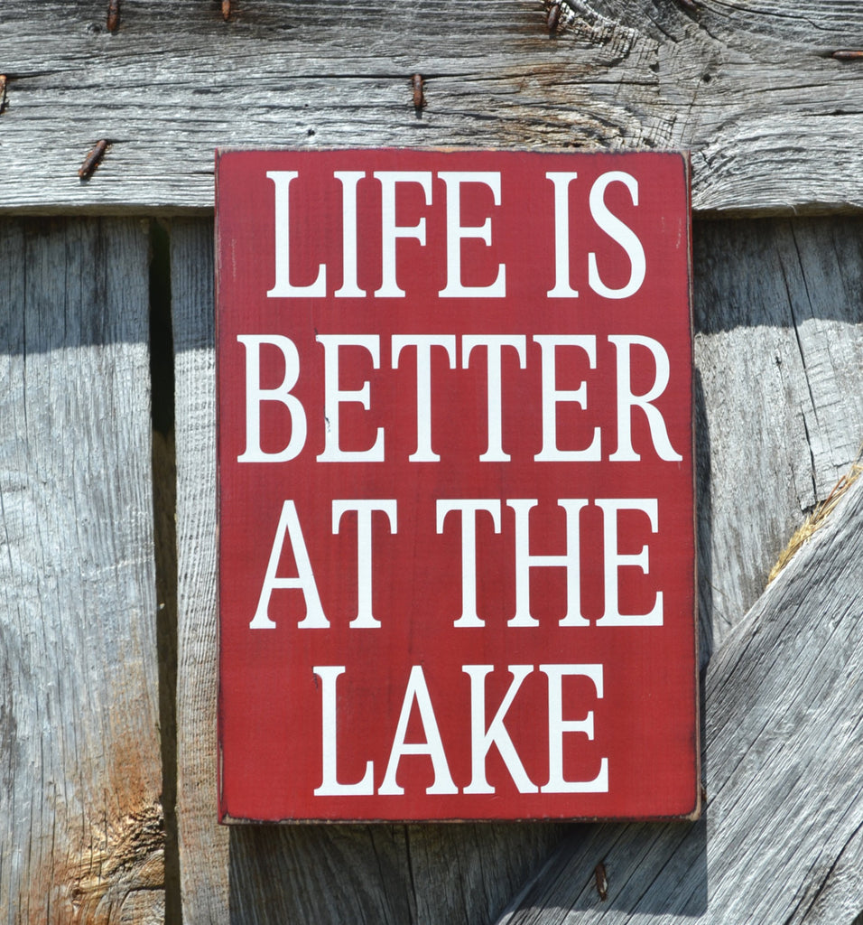 Lake Sign, Lake House Decor, Personalized, Custom Colors, Life Is Better At The Lake Quote, Reclaimed Wood Plaque, Lakeside Gift, Farm Red - The Sign Shoppe