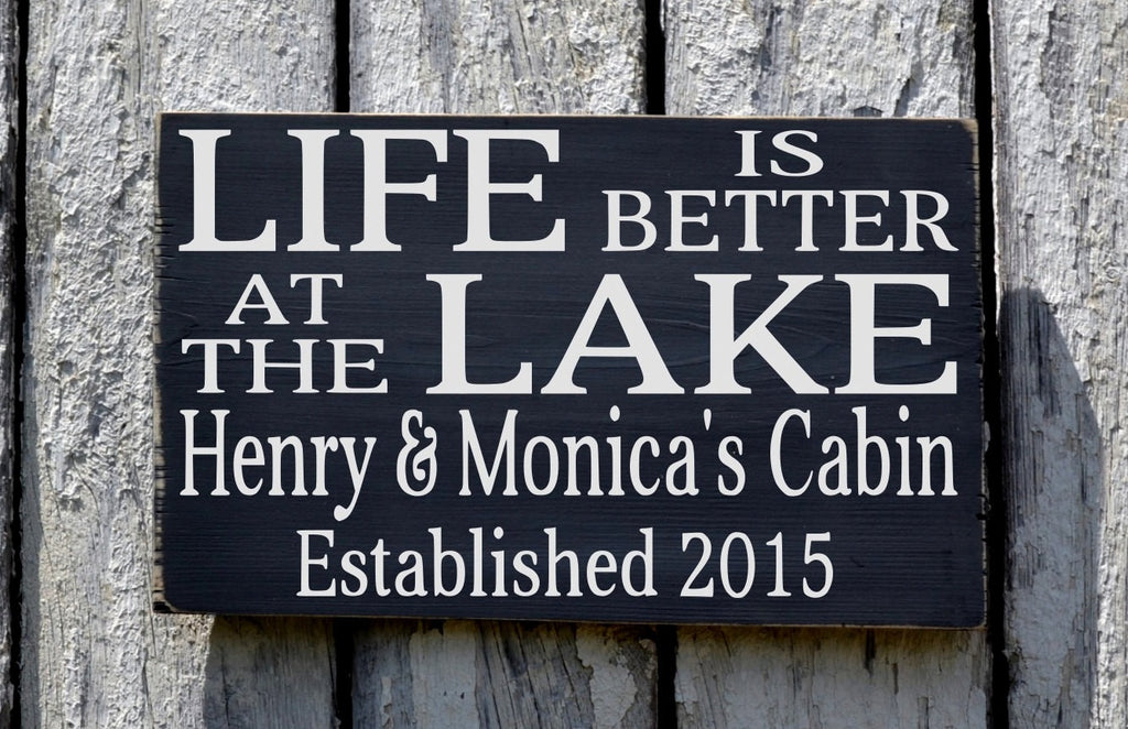 Lake House Decor, Lake Sign, Personalized Established NO VINYL Life Is Better At The Lake Cottage Name Wood Plaque Lakeside Gift Lodge Cabin - The Sign Shoppe