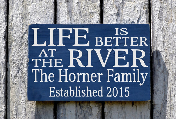 River House Decor, Personalized River Sign, Beach House Plaque, Mountains, Camp, Cabin Lodge Signs, Family Name Plaque Life Is Better Saying - The Sign Shoppe - 2