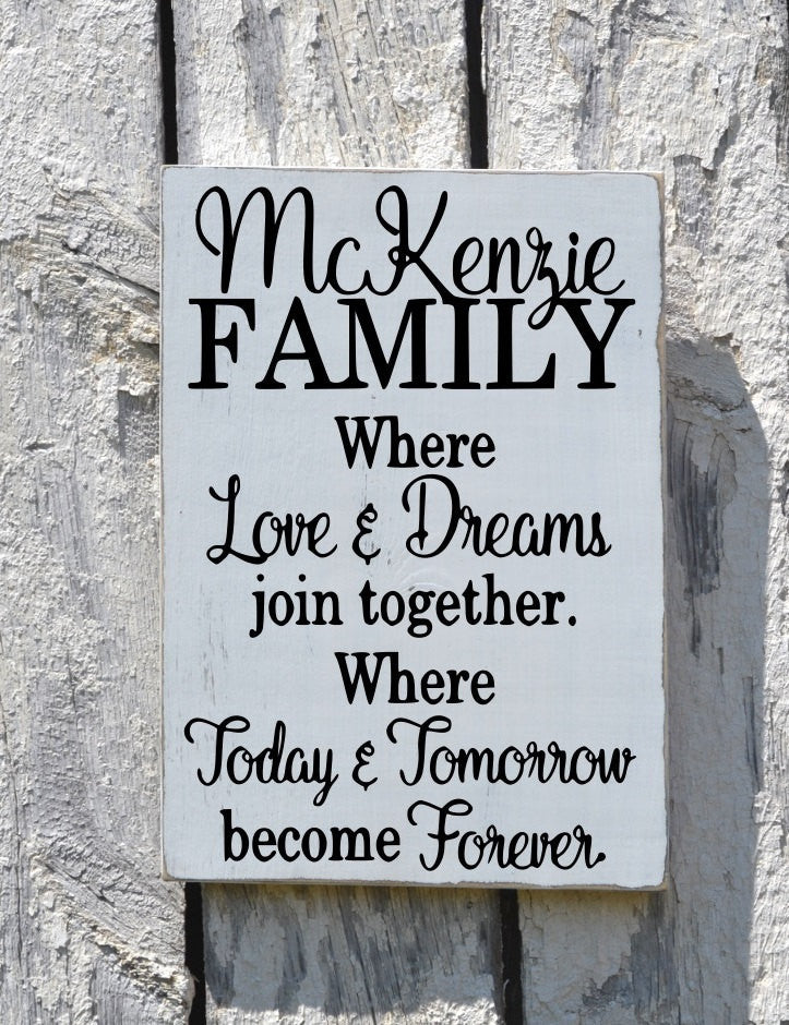 Personalized Family Name Sign Custom Reclaimed Wood Home House Signs Hand Painted Love Dream Life Inspirational Quotes Rustic Words Wall Art - The Sign Shoppe - 1