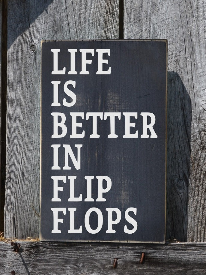 Flip Flops Sign, Chalkboard Chalk Art Signs Life Is Better Quote Painted Rustic Wood Sign Lake Beach Decor Summer Outdoor River House Pool - The Sign Shoppe