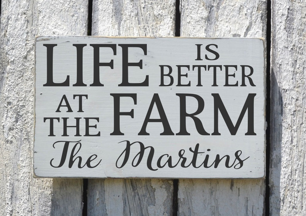 Personalized Farm House Sign, Life Is Better On The Farm Decor, Custom Family Name Last Names Place Plaque Home Signs Farmer Ranch Farming - The Sign Shoppe
