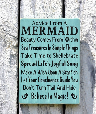 Advice From A Mermaid -Beach Decor - Beach Sign - Beach House Wall Art - Nautical Decor - Mermaid Sign - The Sign Shoppe