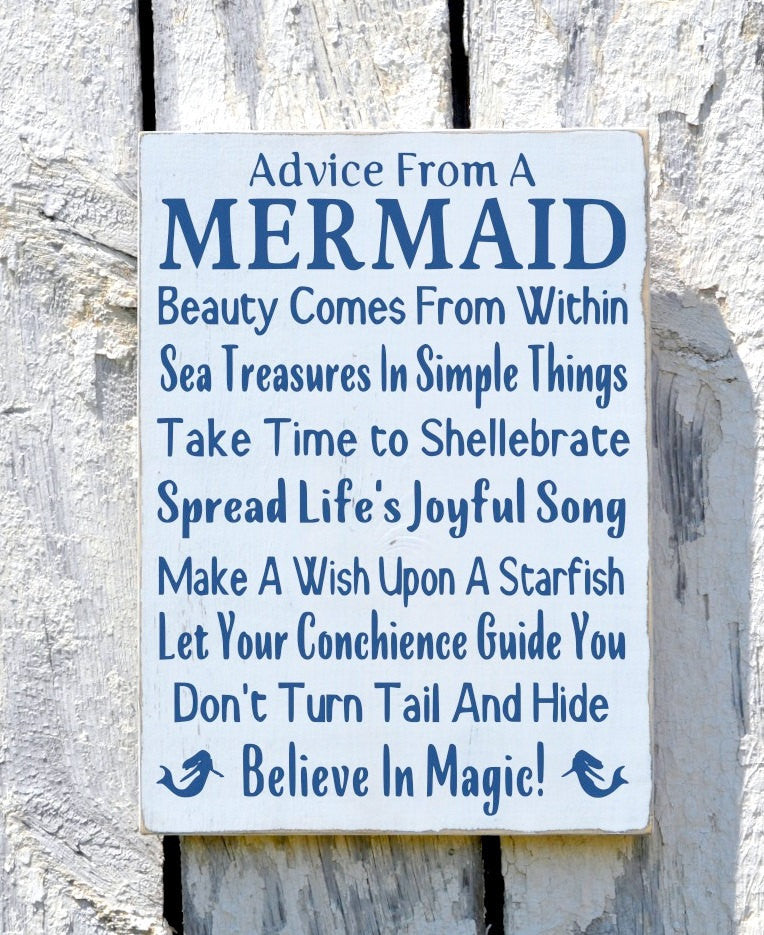 Mermaid Beach Signs, Beach Decor, Advice From Mermaid Sign Decor Plaque Bathroom Wall Art Coastal Ocean Sea Inspirational Quote Poem Gift - The Sign Shoppe
