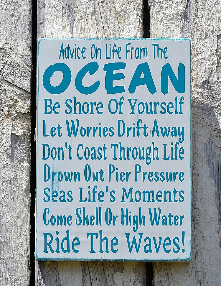 Beach Signs, Beach Home Decor, Advice From The Ocean Sign, Life Rules Poem Coastal Nautical House Wall Art Gift Inspirational Reclaimed Wood - The Sign Shoppe