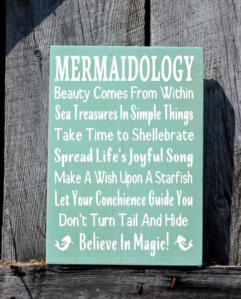 Mermaid Decor Mermaids Sign Wall Art Beach Mermaidology Sayings Signs, Nautical Gift Coastal House Advice Rules Unique Painted Ocean Sign - The Sign Shoppe - 2