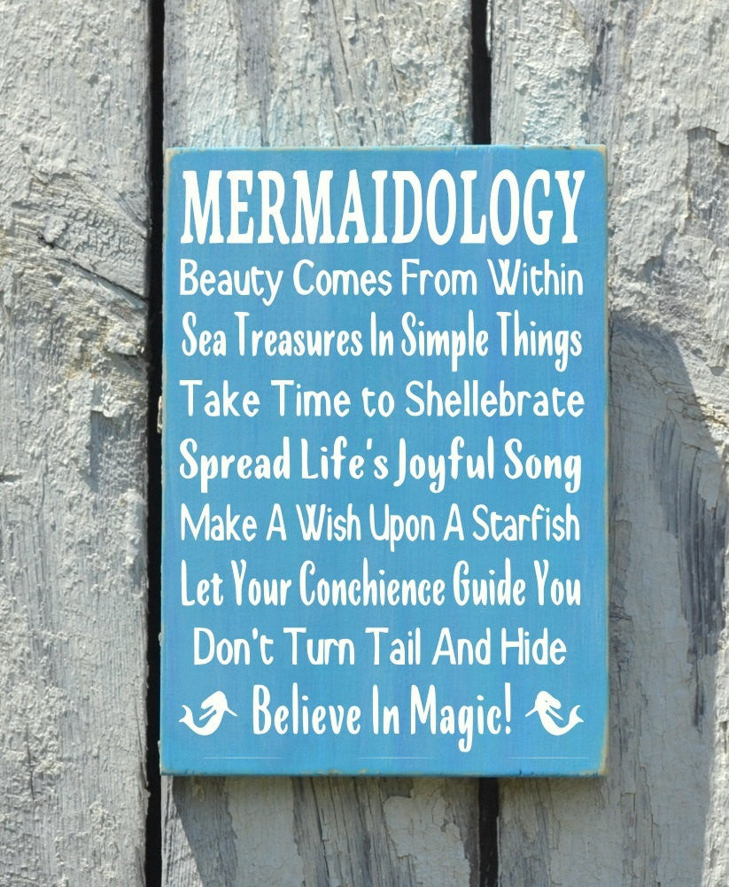 Mermaid Beach Signs, Beach Art Advice Rules Rustic Seaside Cottage House Room Decorations Postive Message Ocean Theme Wood Sign Girls Teens - The Sign Shoppe