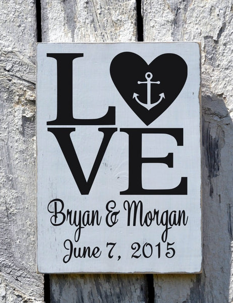 Rustic Beach Wedding Sign Personalized Anchor Nautical Love Signs Wedding Shower Gift Bride Groom Names Rustic Ocean Sea Wood Plaque - The Sign Shoppe - 2