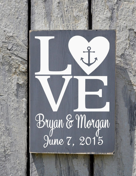Rustic Beach Wedding Sign Personalized Anchor Nautical Love Signs Wedding Shower Gift Bride Groom Names Rustic Ocean Sea Wood Plaque - The Sign Shoppe - 1
