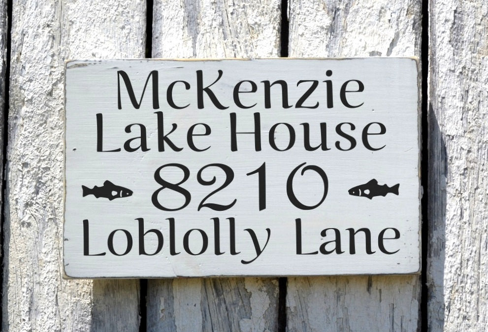 Lake House Personalized Decor, Family Name Signs, Outdoor Street Address Numbers Reclaimed Wood Plaque Cottage Place Signs Cabin Decor Art - The Sign Shoppe