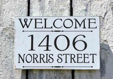 Address Welcome Sign Custom House Numbers Plaques Personalized Street Address - The Sign Shoppe