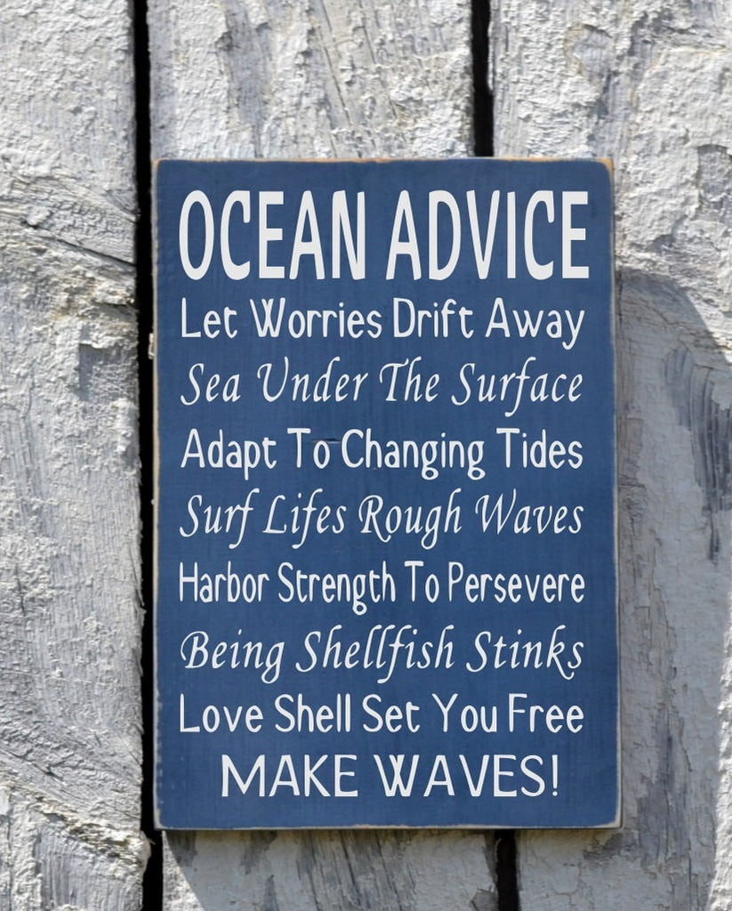 Beach Sign, Beach House Decor, Ocean Advice Poem, Rustic Wooden Coastal Plaque, Beach Wedding Sign, Nautical Room Decorations Wall Hanging - The Sign Shoppe