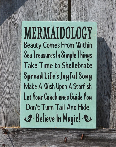 Mermaid Decor Mermaids Sign Wall Art Beach Mermaidology Sayings Signs, Nautical Gift Coastal House Advice Rules Unique Painted Ocean Sign - The Sign Shoppe - 1