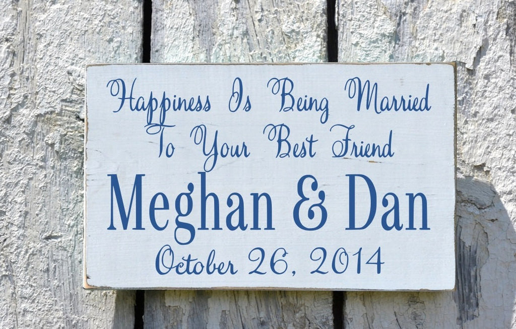 Personalized Wedding Sign Table Decor Anniversary Couples Gift Happiness Is Married Best Friend Wooden Rustic Home Plaque Bride Groom Names - The Sign Shoppe