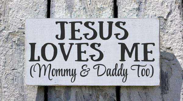Childrens Room Wall Art Nautical Nursery Decor Blue Boys Sign Jesus Loves Me Mommy Daddy Too Songs Scripture Verse Plaque Kids Baby Gift - The Sign Shoppe - 2