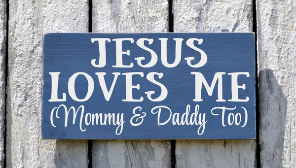 Childrens Room Wall Art Nautical Nursery Decor Blue Boys Sign Jesus Loves Me Mommy Daddy Too Songs Scripture Verse Plaque Kids Baby Gift - The Sign Shoppe - 1