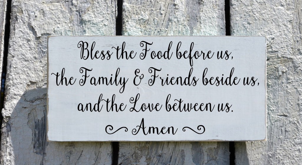 Kitchen Sign Wall Art Dining Room Decor Bless The Food Before Us - The Sign Shoppe