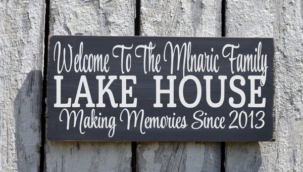 Lake House Decor, Personalized Lake Signs Custom Welcome To The Lakeside House Name Plaque Established Date Gift Home Hostess Wall Art - The Sign Shoppe - 4