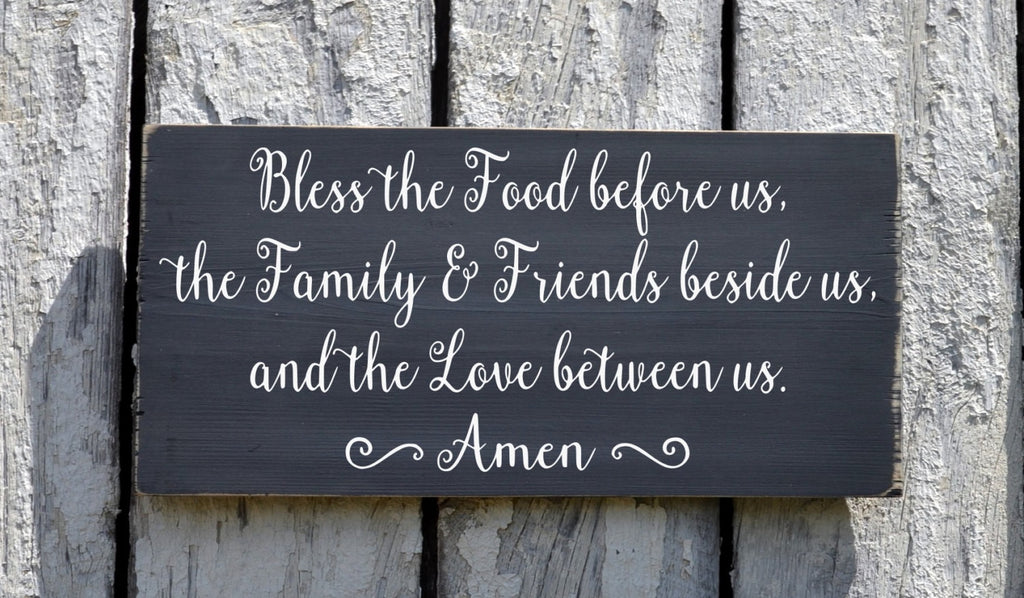 Kitchen Sign Wall Hanging Art Dining Room Decor Hand Painted Bless The Food Before Us Wood Plaque Scripture Prayer Religious Family Blessing - The Sign Shoppe - 1