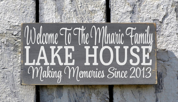 Lake House Decor, Personalized Lake Signs Custom Welcome To The Lakeside House Name Plaque Established Date Gift Home Hostess Wall Art - The Sign Shoppe - 2