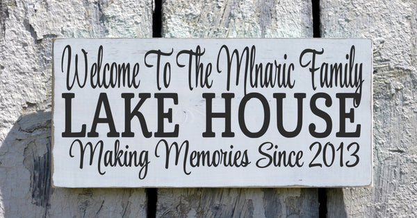 Lake House Decor, Personalized Lake Signs Custom Welcome To The Lakeside House Name Plaque Established Date Gift Home Hostess Wall Art - The Sign Shoppe - 3