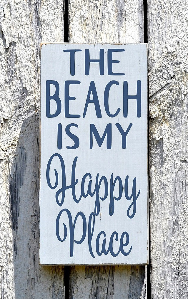 The Beach Is My Happy Place Nautical Wall Art - The Sign Shoppe