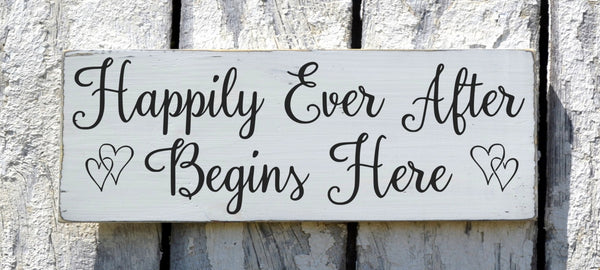 Rustic Wedding Sign Happily Ever After Begins Here Customizable Plaque Hand Painted Welcome Signs Bride Groom Couples Decor Shower Gift - The Sign Shoppe - 1