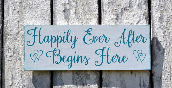 Rustic Wedding Signage Decor Happily Ever After Begins Here Teal Custom Colors Wood Plaque Sweetheart Table Signs Bride Groom Gift - The Sign Shoppe - 1