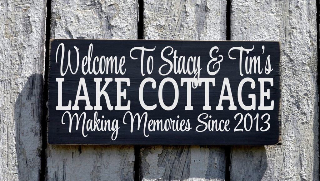 Lake Sign, Personalized Lake House Decor, Welcome To The Lake Cottage Family Name Sign Custom Wood Lakeside Housewarming Dream Home Wall Art - The Sign Shoppe